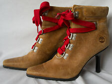 Timberland Womens 10 High Heel Boots 82396 Brown Stiletto Red Laced Pointed Toe