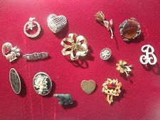 LOT OF 15 VTG AT PRESENT TIME  RHINESTONE,METAL,ANIMAL, GIOVANNI BROOCHES
