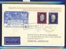 51201) SAS FF Stockholm - Djakarta 24.1.58, cover Brief ab DDR