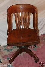 ANTIQUE DESK CHAIR OFFICE SWIVEL SLAT BACK CIRCA EARLY 1930'S RARE