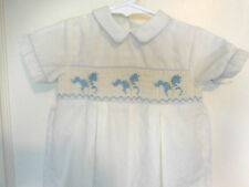 Boy's Vtg Carriage Boutiques Infant Smocked Romper Jumper Carousel Horse 6 mo