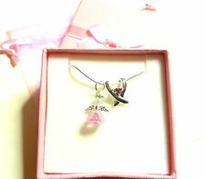 Breast Cancer Awareness Ribbon Pendant & Pink Guardian Angel Necklace Gift Box