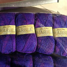 JAMES C BRETT DOUBLE KNITTING WOOL PURPLE RED MARBLE MIX 5X100G YARN SHADE MT44