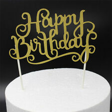 Fashion Gold Color Cake Topper Happy Birthday Card Party Supplies Decoration Hot