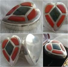Edwardian Sterling SILVER & Scottish AGATE Heart Shaped Pill Trinket Snuff Box