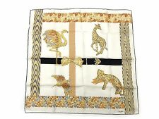 Auth Cartier Scarf 100% Silk Animal Pattern Off white Multi-Color Good 34899