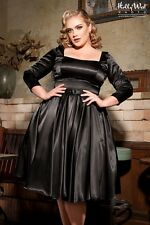 NWOT Pinup Couture Margaret Dress in Black Satin - Plus Size XL Full Skirt