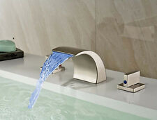 Waterfall Bathroom LED Brushed Nickel Basin Faucet Widespread Mixer Deck Mounted