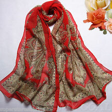G RED FLOWER - Flower Silk Chiffon Neck Scarf Wrap Shawl Stole Wrap Women