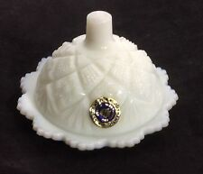 White Milk Glass Covered Small Butter Dish - Westmoreland~Original Tag~Chipped