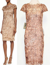 Tadashi Shoji Copper Vintage Rose Motif Cocktail Sheath Dress Size 14  $368