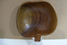 "Genuine Monkey Pod Wood Bowl Hand Crafted in the Philippines 6"" Nut Shape"