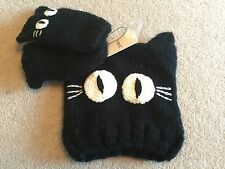 Next girls black cat beanie hat with ears ! & mittens BNWT size 3 - 6 months