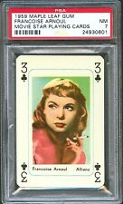 1959 Maple Leaf Gum Playing Card FRANCOISE ARNOUL French Movie Star PSA 7 NM
