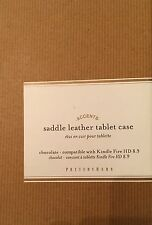 NEW Pottery Barn Chocolate Saddle Leather KINDLE Tablet Case Sleeve-$29.95 Value