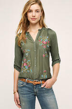 ANTHROPOLOGIE NWT Lazuli Embroidered Top Shirt Blouse by Tiny Green Sz S $88