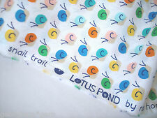 3 YARDS Cloud 9 Lotus Pond Snail Trail multi on white ORGANIC Cotton Fabric