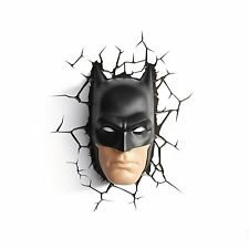 BATMAN MASK Face 3D FX LIGHT Wall DECO Night Light + Crack Sticker BLACK 3DFX