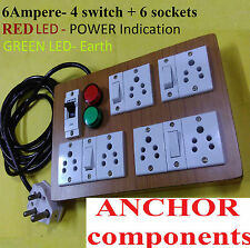 Wooden Extn 6 sockets+4 Switch,2 meter ISI 1 mm wire,Earth LED,20 AMP MCB