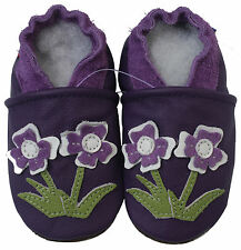 carozoo flower violet 12-18m  soft sole leather baby shoes