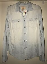 Levi's Large Women's Blue White Shirt Pearl Snaps Long Sleeve Blouse Western