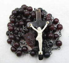 † HTF UNIQUE VINTAGE MONK DYED MAROON & BLACK MONK IRISH CATTLE HORN ROSARY †