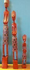 famiglia trio statua masai soprammobili in legno intagliato e dipinto a mano