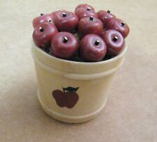 Mini Wood Apple Pail 12 apples Bucket country kitchen home decor shelf sitter