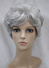 Light gray Mixed Short Curly Middle-aged / Older Women Ladies Daily wig FTLD005