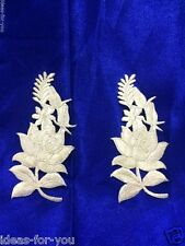 APPLIQUES IRON ON PATCH LUXURY SILVER FLOWER EMBROIDERED FOR CLOTHS, FABRIC