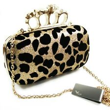 kilofly Missy K Skull Ring Clutch Purse Leopard Detachable Strap Money Clip