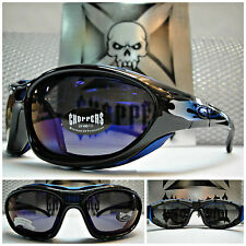 New MOTORCYCLE BIKER RIDING CHOPPERS SUN GLASSES PADDED GOGGLES Blue Mirror Lens