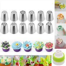 12er Russian Icing Piping Nozzles Tips Tulip Torte Deko Sugarcraft Tool +Adapter