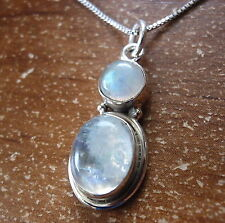 Blue Moonstone Double Gem 925 Sterling Silver Necklace Corona Sun Jewelry