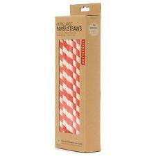 Kikkerland Extra Large Red Striped Design Paper Straws - Box of 36