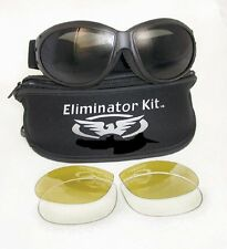 Foam Padded Biker Interchangeable Lenses Motorcycle Goggles Chopper Bobber Trike