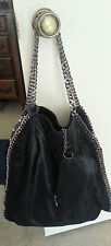 STELLA McCARTNEY  Large Shaggy Deer  Falabella Tote Hobo  Bag black  AUTHENTIC
