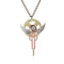 Women Punk Nail Angel Wing Crystal Pendant Choker Chain Necklace Jewelry On Sale