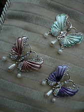 ENAMEL CRYSTAL and FAUX PEARL HAND PAINTED BUTTERFLY BROOCH BNEW CHOOSE COLOUR