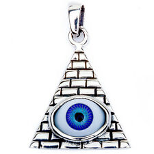 "Pyramid w/ Purple Evil Eye .925 Sterling Silver Pendant 1.15"" long"