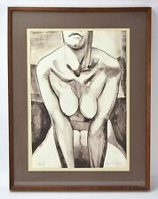 Vintage 1970's Limited Edition Lithograph Nude by Carl Schwartz Chicago Artist