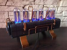 IN-18 Nixie Clock with 6 tubes Handmade Steampunk (Z568M style) LeatherLab №2