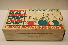 Vintage Sportcraft Bocce Ball Lawn Bowling Set With Box Made in Italy