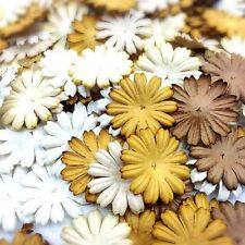 100 Mixed Brown Tone & White Daisy Flowers mulberry paper for Craft & D.I.Y