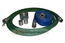 "3"" Green FCAM x MP Water Suction Hose Trash Pump Complete Kit w/25' Blue Dis"