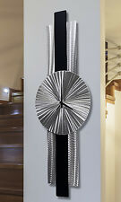 Silver/Black Metal Wall Clock - Modern Contemporary Metal Wall Art by Jon Allen