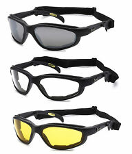 3 PAIR Chopper w Strap Wind Resistant Sunglasses Motorcycle Riding Glasses COMBO
