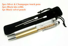 New 2pcs Silver and Champagne-SWAROVSKI CRYSTAL ELEMENTS Touch Pen Ballpoint Pen
