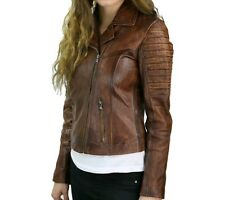 Womens Cafe Racer Quilted Tan Moto Biker Distressed Brown Vintage Leather Jacket