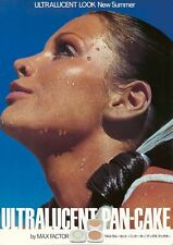 MAX FACTOR ULTRALUCENT PAN-CAKE Vintage 1977 Japanese A1 advertising poster B NM